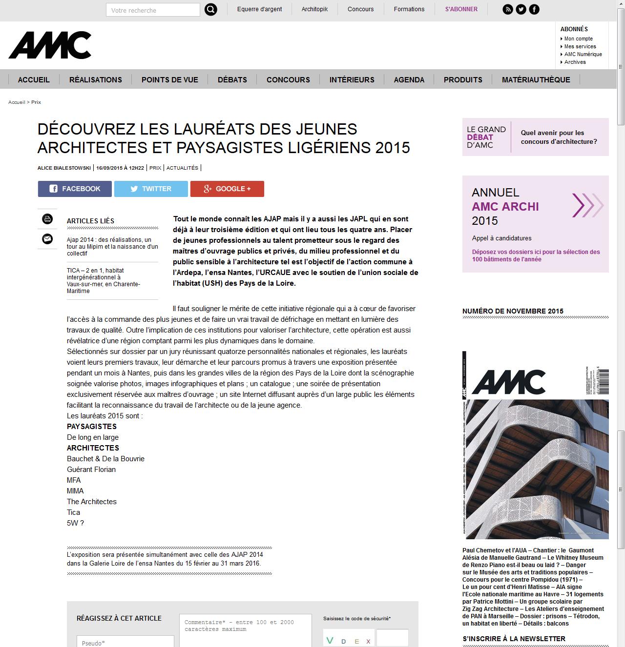 Article générique sur la sélection JAPL - AMC - 16 septembre 2015