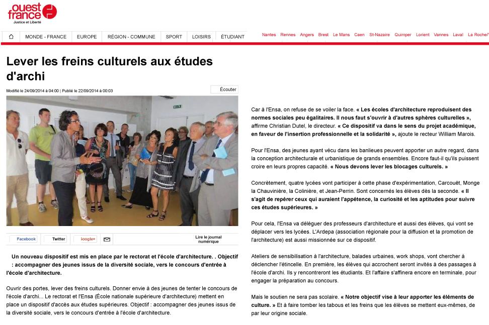 ardepa Divers(c)ités ouest france 24/09/2014