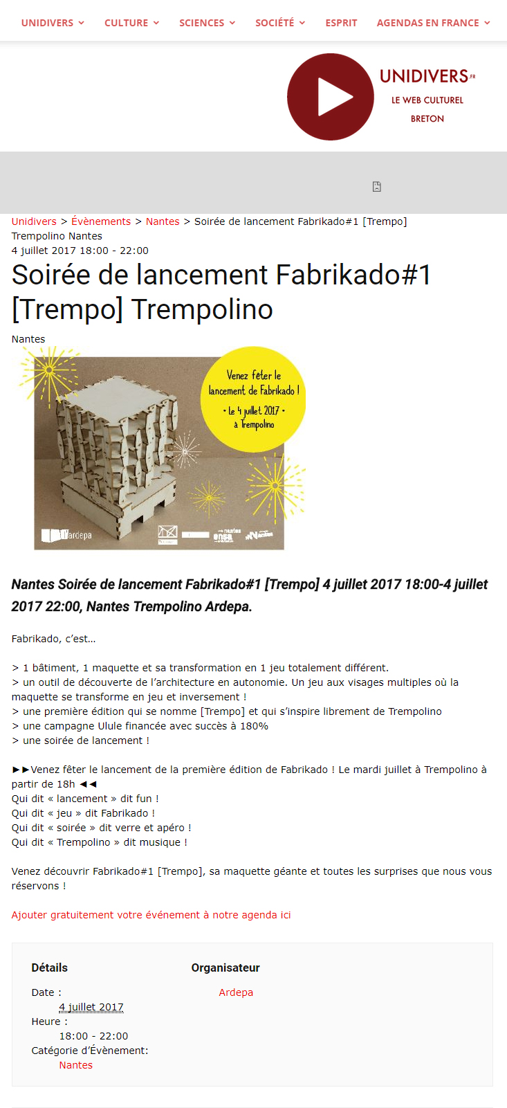 ardepa architecture maquette unidivers jeu maquette 07/2017