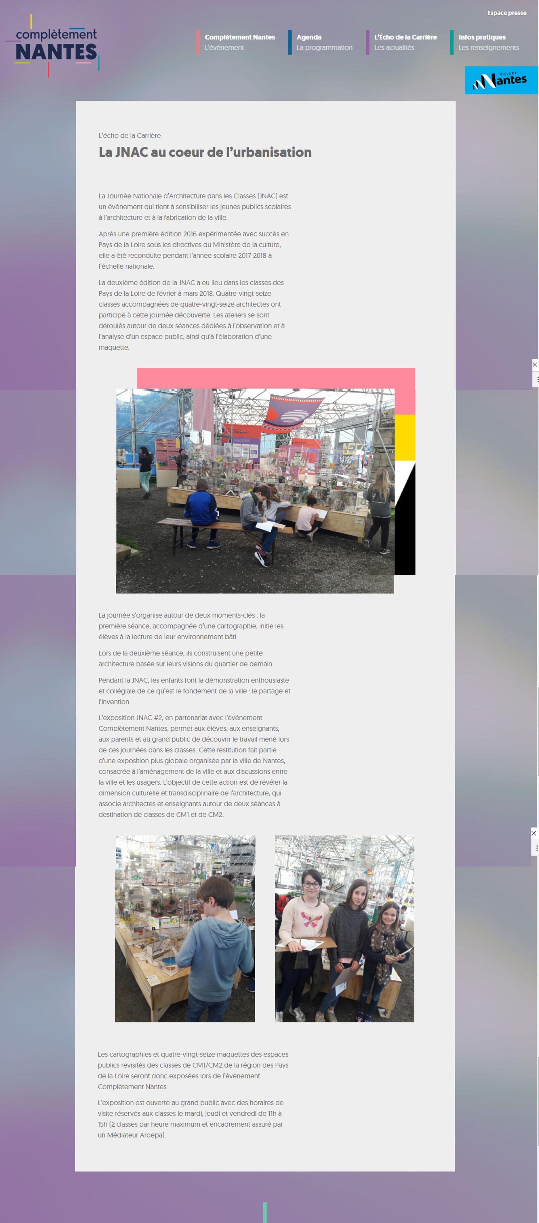 exposition complétement nantes - exposition journée nationale de l'architecture dans les classes carrière misery