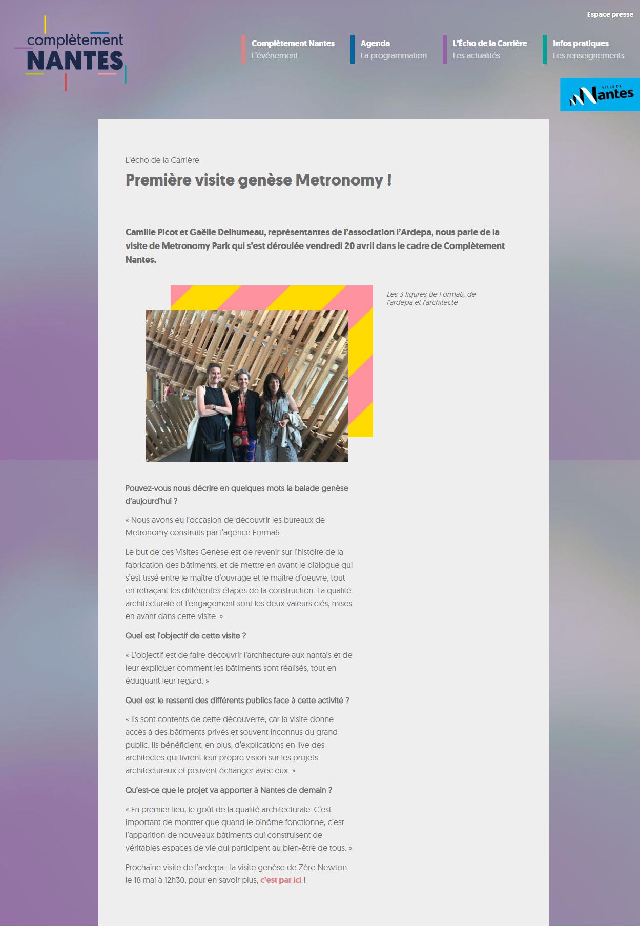 exposition complétement nantes visite génèse bureaux metronomy forma6 tolefi promotion