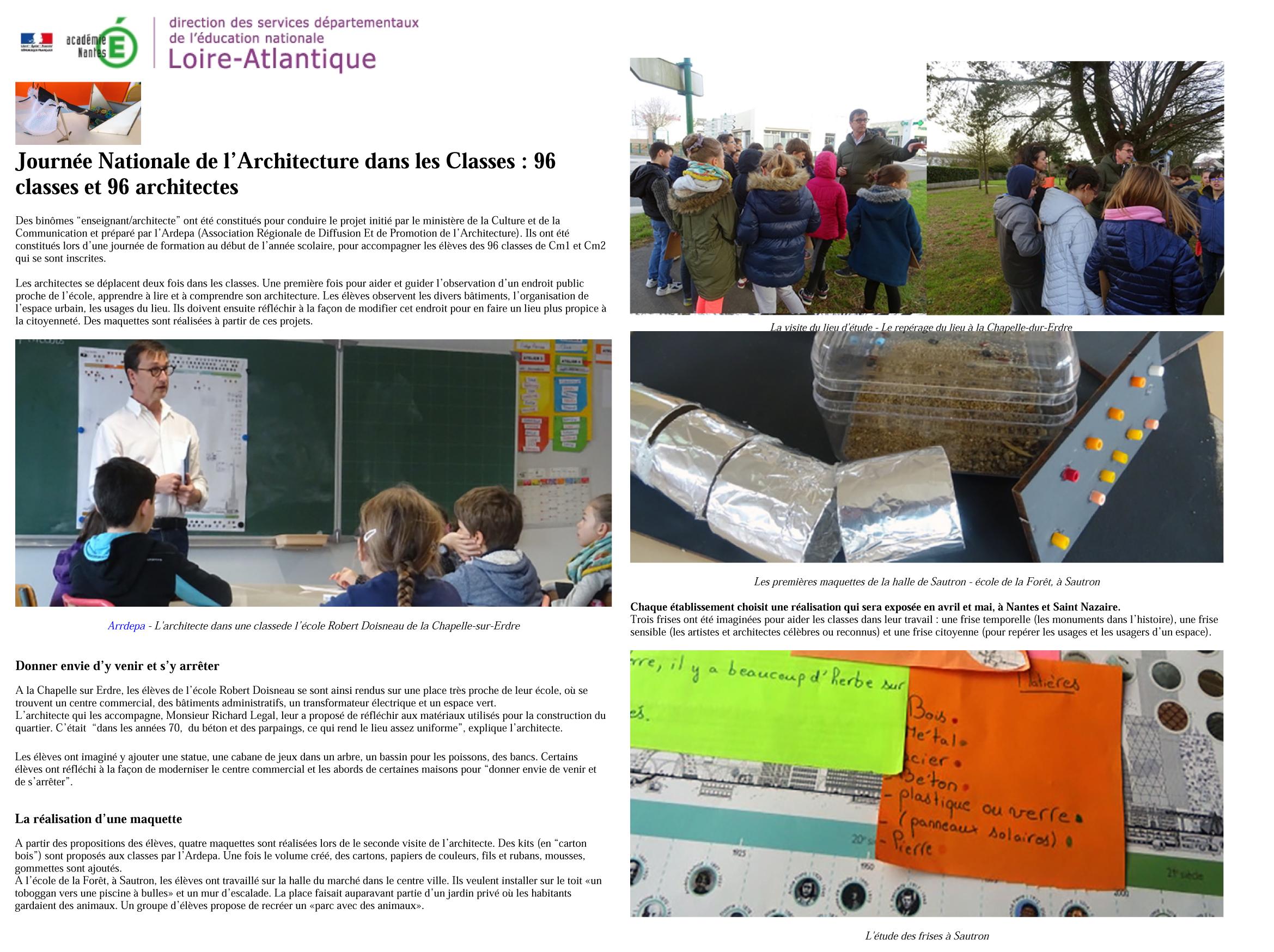 DSDEN 44 journée nationale de l'architecture dans les classes ardepa atelier pédagogique