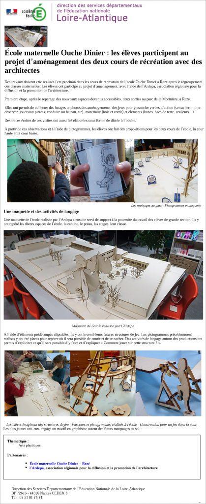 ardepa ateliers pédagogique architecture école ouche dinier